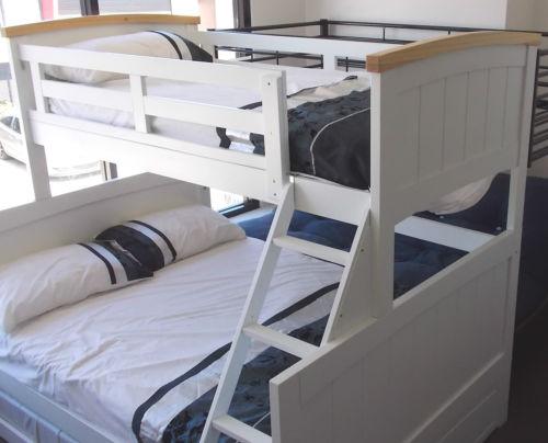 Bunk Beds Penrith : Bondi ranch single double timber white trio bunk bed ab