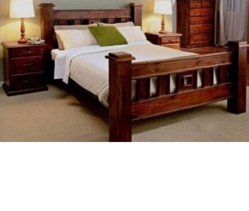 Double Rustic Bedroom Suite Bed Frame 2 X Bedside Chest And Jumbo