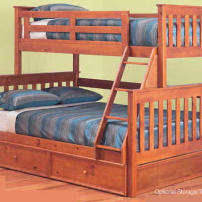 Miami Single Timber Bunk Bed In Steel Brushed White Wash Display