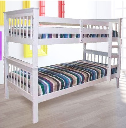 Monza Single Timber Bunk Bed In White Ab Fab Furniture Penrith