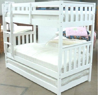 Jester Single Hardwood Timber Bunk Bed Standard Trundle In White