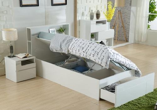 Swansea Single Gas Lift Bed Huge Storage Area Bed Head Bookshelf And