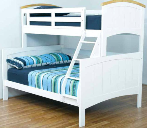 Bondi Ranch Single Double Timber White Trio Bunk Bed Ab