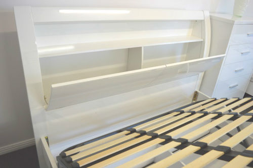 Waverley King Gas Lift Bed High Gloss 2 Pack White Big