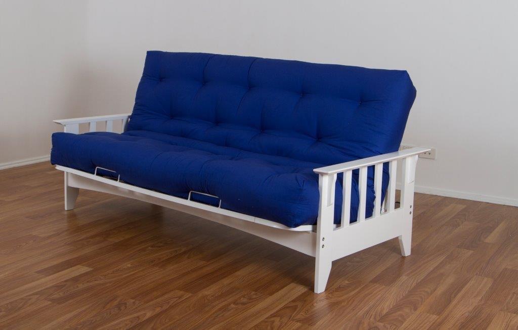 Delta hardwood timber futon Double sofa bed lounge White ...
