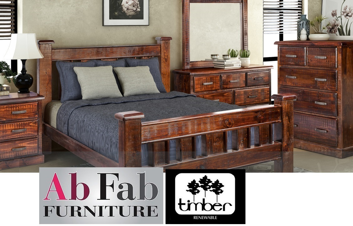Cobar King Bedroom Suite Bed Frame 2 Bedside Chest Tallboy Lowboy Mirror 22 Drw Ab Fab Furniture Penrith