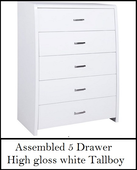 Assembled 5 Drawer High Gloss White Tallboy Chest Of Drawers Ab