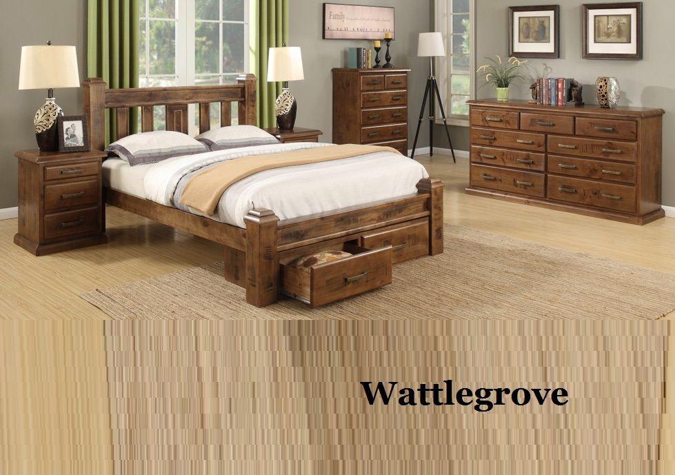Wattlegrove Queen Bedroom Suite Bed Frame Drawers Bedside Chest