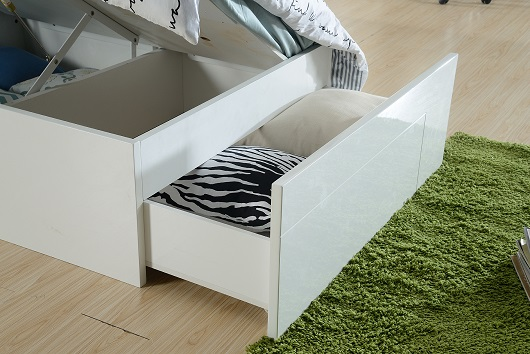 The Edge Swansea King Single Gas Lift Bed High Gloss White