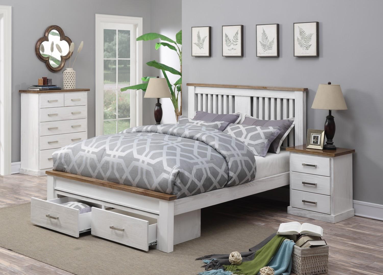 Bendigo Queen Bed Frame Under Bed Storage Drawers Timber White