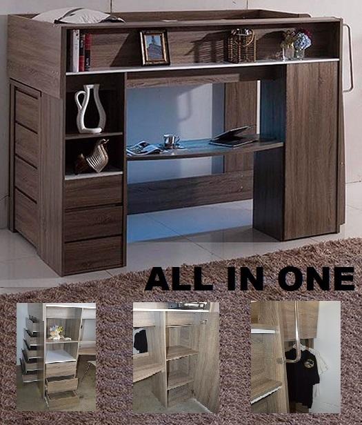 All In One Single Cabin Bunk Bed Loft Desk Bookcase
