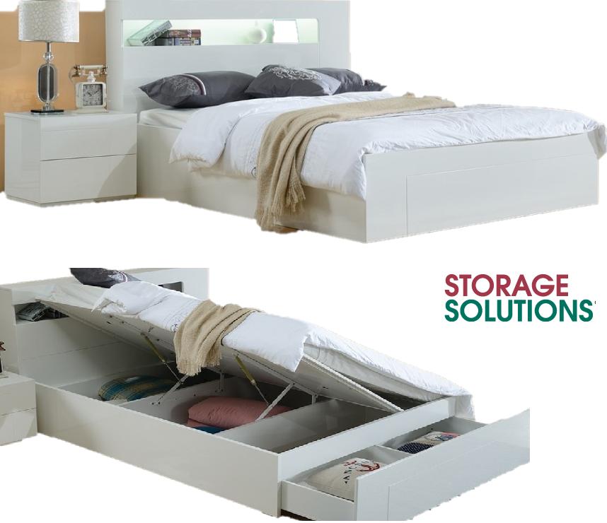 3e4e326ffd85 Vogue Queen Gas lift storage Bed Frame High Gloss White & Touch light Brand  New