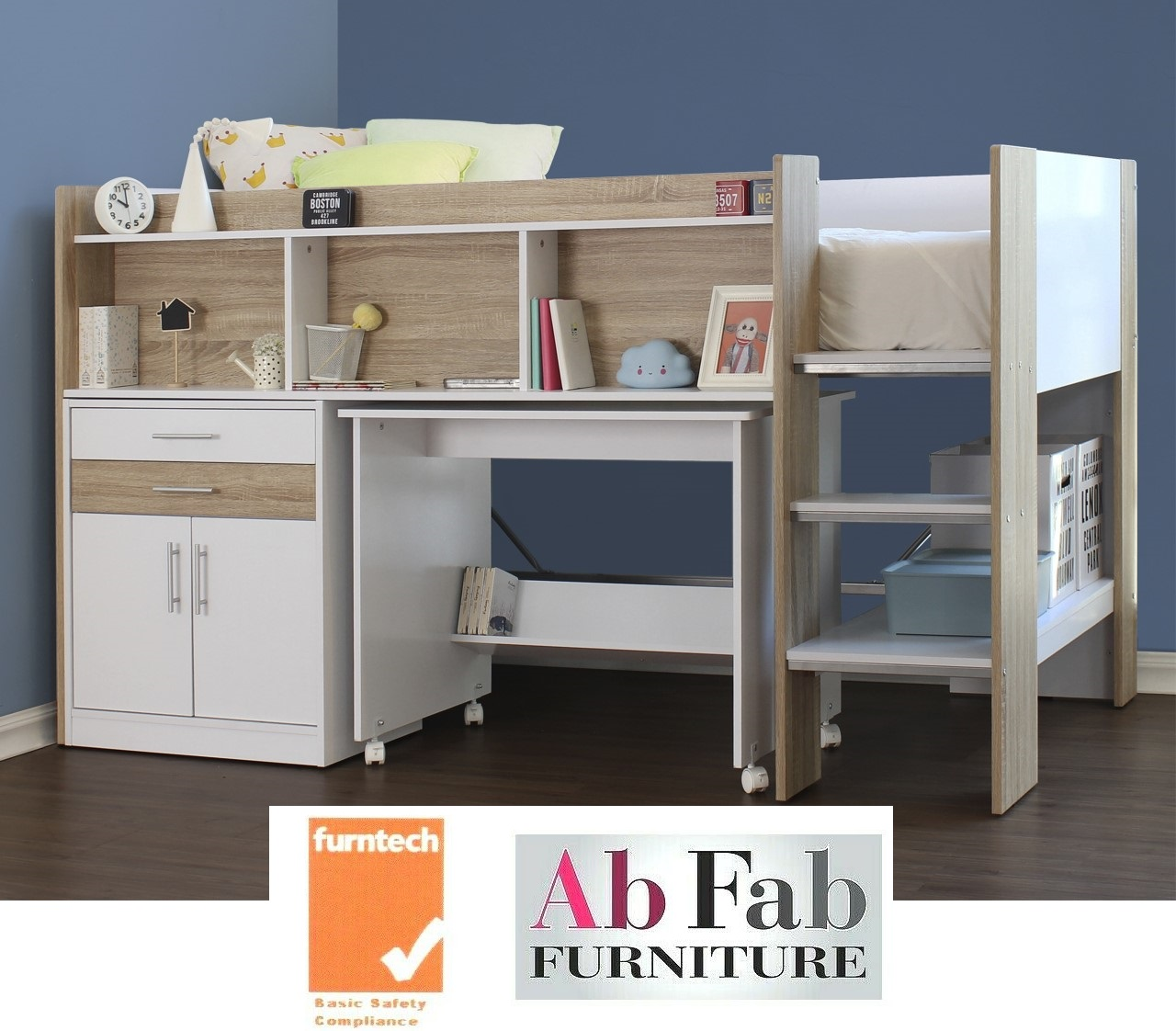 A Appleton Single Cabin Bunk Bed Loft Midi Sleeper Desk Drawers In Oak White Ab Fab Furniture Penrith