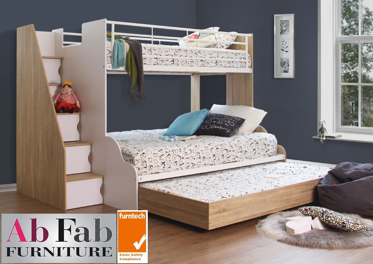 A Levin Plus Deluxe Double Single Trio Bunk Bed Stairs Cupboard Double Trundle White Oak Ab Fab Furniture Penrith
