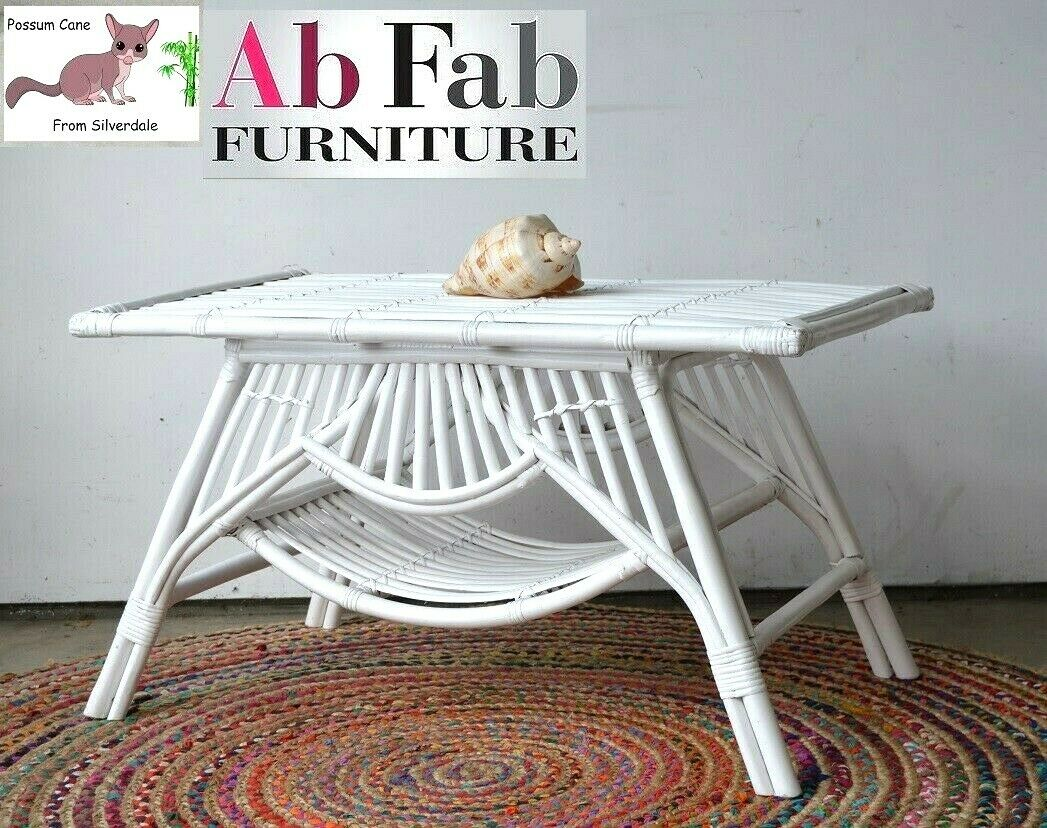 Picture of: Handmade Rattan Cane Rectangle Coffee Table White Oz Fancy Possum Cane Ab Fab Furniture Penrith