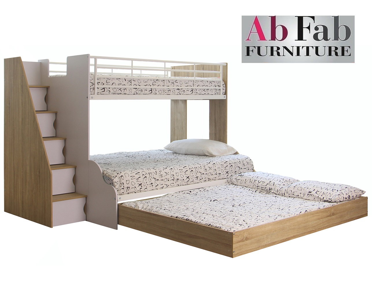 Now 1169 Levin Plus Deluxe Double Single Trio Bunk Bed Stairs Cupboard Double Trundle White Oak Ab Fab Furniture Penrith